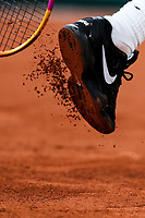 11th October 2020, Roland Garros, Paris, France; French Open tennis, mens singles final 2020; Rafael Nadal of Spain knocks the clay from his shoe during the mens singles final match against Novak Djokovic of Serbia