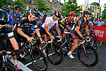 Pix: Shaun Flannery/British Cycling/shaunflanneryphotography.com<br /> <br /> COPYRIGHT PICTURE>>SHAUN FLANNERY/BRITISH CYCLING>01302-570814>>07778315553>><br /> <br /> 23rd July 2014.<br /> The 3rd Claremont Sheffield Grand Prix.<br /> Penultimate round of the British Cycling Elite Circuit Race Series.<br /> Dean Downing leads the riders out on his final race.