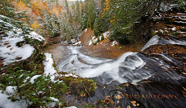 first snow, Laughing Whitefish Falls