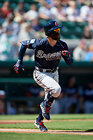 Atlanta Braves center fielder Ender Inciarte (11) runs to first base during a Grapefruit League Spring Training game against the Detroit Tigers on March 2, 2019 at Publix Field at Joker Marchant Stadium in Lakeland, Florida.  Tigers defeated the Braves 7-4.  (Mike Janes/Four Seam Images)