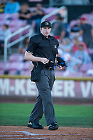 Home plate umpire Mitch Leikam during a Northwest League game between Salem-Keizer Volcanoes and the Eugene Emeralds at Volcanoes Stadium on August 31, 2018 in Keizer, Oregon. The Eugene Emeralds defeated the Salem-Keizer Volcanoes by a score of 7-3. (Zachary Lucy/Four Seam Images)