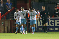 Bradley Ash of Weymouth scores the second goal for his team and celebrates with his team mates during Dagenham & Redbridge vs Weymouth, Vanarama National League Football at the Chigwell Construction Stadium on 14th September 2021