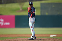 Rome Braves relief pitcher Jose Montilla (37) looks to his catcher for the sign against the Kannapolis Intimidators at Kannapolis Intimidators Stadium on April 7, 2019 in Kannapolis, North Carolina. The Intimidators defeated the Braves 2-1. (Brian Westerholt/Four Seam Images)