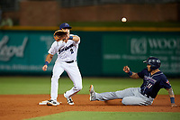 Pensacola Blue Wahoos Shrimp second baseman Taylor Featherston (2) waits to receive a throw as Justin Twine (11) slides into second base during a game against the Jacksonville Jumbo on August 15, 2018 at Blue Wahoos Stadium in Pensacola, Florida.  Jacksonville defeated Pensacola 9-2.  (Mike Janes/Four Seam Images)