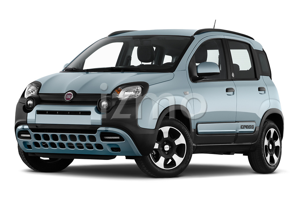 Stock pictures of low aggressive front three quarter view of 2020 Fiat Panda-Cross Launch-Edition 5 Door Hatchback Low Aggressive