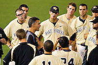 Wake Forest Demon Deacons head coach Tom Walter #32 addresses his team following their 6-3 loss to the Miami Hurricanes in Game Nine of the 2012 ACC Baseball Championship at NewBridge Bank Park on May 25, 2012 in Winston-Salem, North Carolina.  (Brian Westerholt/Four Seam Images)