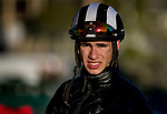 ARCADIA, CA - APRIL 21: Leading jockey Evin Roman at Clocker's Corner at Santa Anita Park on April 21, 2018 in Arcadia, California. (Photo by Alex Evers/Eclipse Sportswire/Getty Images)