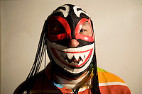Wrestler Coco Negro (fighting name), Jimmy Martinez (real name), a member of the wrestling group Las Diosas del Ring wears his costume for an interview with a television channel to promote his group.