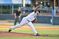 Asheville Tourists pitcher Felipe Tejada (27) delivers a pitch during a game against the Greenville Drive on May 21, 2021 at McCormick Field in Asheville, NC. (Tony Farlow/Four Seam Images)