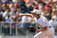 Pitcher Corey Knebel #29 of the Texas Longhorns delivers against Texas Tech on April 17, 2011 at UFCU Disch-Falk Field in Austin, Texas. (Photo by Andrew Woolley / Four Seam Images)