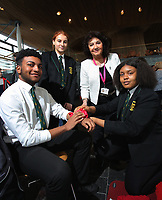 L-R Rafael Fernandez and Lauren Thomas from the Cardiff Youth Council, Caroline Jones AM, and Sherry Gakumga from the Cardiff Youth Council
