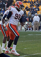 Syracuse defensive end Chandler Jones. The Pittsburgh Panthers beat the Syracuse Orange 33-20 at Heinz Field in Pittsburgh, Pennsylvania on December 3, 2011