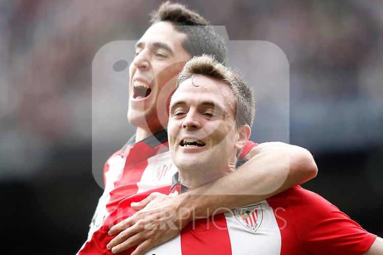 Athletic de Bilbao's Javi Eraso (r) and Sabin Merino celebrate goal during La Liga match. February 13,2016. (ALTERPHOTOS/Acero)