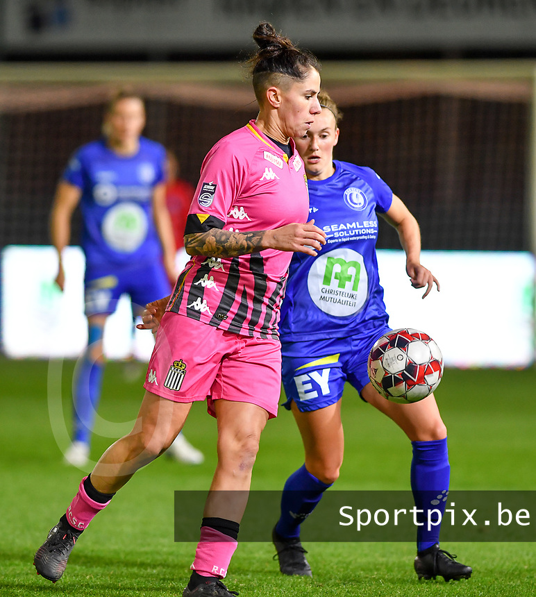 Ylenia Carabott (7 Charleroi) pictured with Emma Van Britsom (6 Gent) during a female soccer game between  AA Gent Ladies and Sporting Charleroi Feminin on the fifth matchday of the 2020 - 2021 season of Belgian Scooore Womens Super League , friday 16 th of October 2020  in Oostakker , Belgium . PHOTO SPORTPIX.BE | SPP | DAVID CATRY
