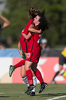 Bradenton, FL - Sunday, June 12, 2018: Sophie Jones, goal celebration during a U-17 Women's Championship Finals match between USA and Mexico at IMG Academy.  USA defeated Mexico 3-2 to win the championship.