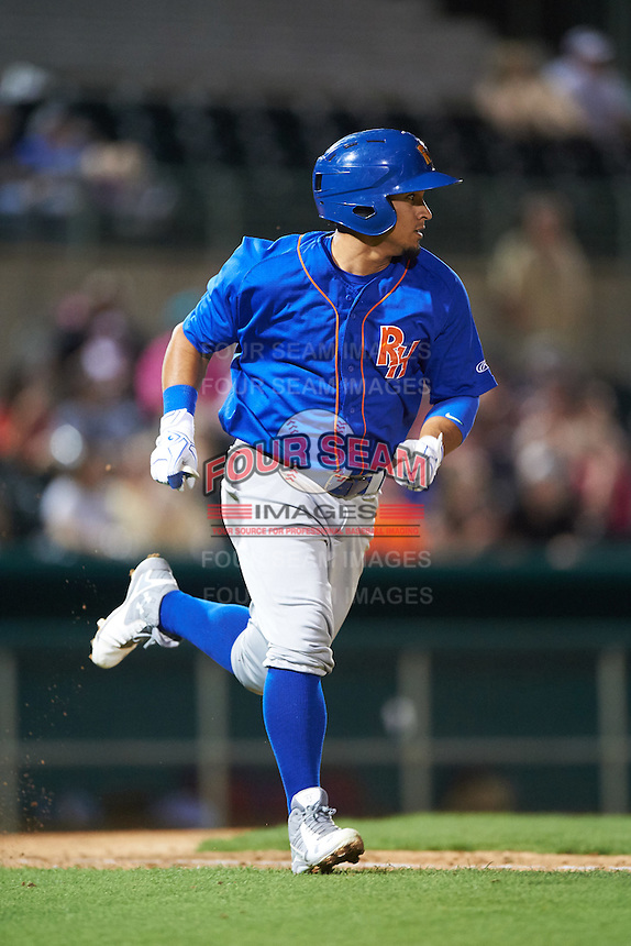 Midland RockHounds shortstop Franklin Barreto (10) runs to first during a game against the San Antonio Missions on April 21, 2016 at Nelson W. Wolff Municipal Stadium in San Antonio, Texas.  Midland defeated San Antonio 9-2.  (Mike Janes/Four Seam Images)
