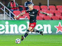 WASHINGTON, DC - APRIL 17: Erik Sorga #50 of D.C. United takes a shot during a game between New York City FC and D.C. United at Audi Field on April 17, 2021 in Washington, DC.