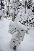 Trail junction of the Appalachian Trail and the  Willey Range Trail in the White Mountains, New Hampshire USA during the winter months.
