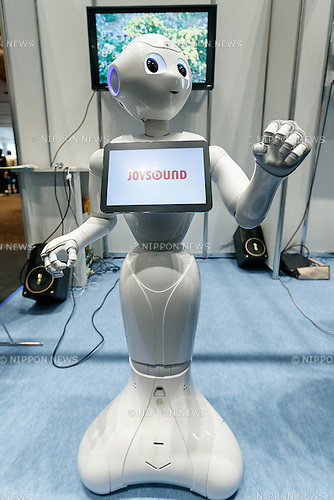 SoftBank's humanoid robot Pepper dances Pen-Pineapple-Apple-Pen (PPAP) during the Pepper World 2017 on February 8, 2017, Tokyo, Japan. Every year, SoftBank Robotics organizes Pepper World exhibition to showcase the latest applications for its humanoid robot Pepper in various business fields. The two-day exhibition is held at Toranomon Hills on February 8-9. (Photo by Rodrigo Reyes Marin/AFLO)