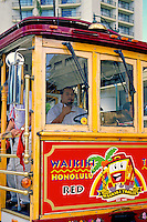 EDITORIAL ONLY. Waikiki to Honolulu, Red Line Trolley