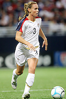 USWNT 5 Mexico 1. .Edward Jones Dome , St Louis, MO 10-13-07.Christie Rampone carries the ball.
