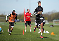 Kyle Naughton (R) during the Swansea City FC training at Fairwood, Swansea, Wales, UK on Wednesday 04 May 2016