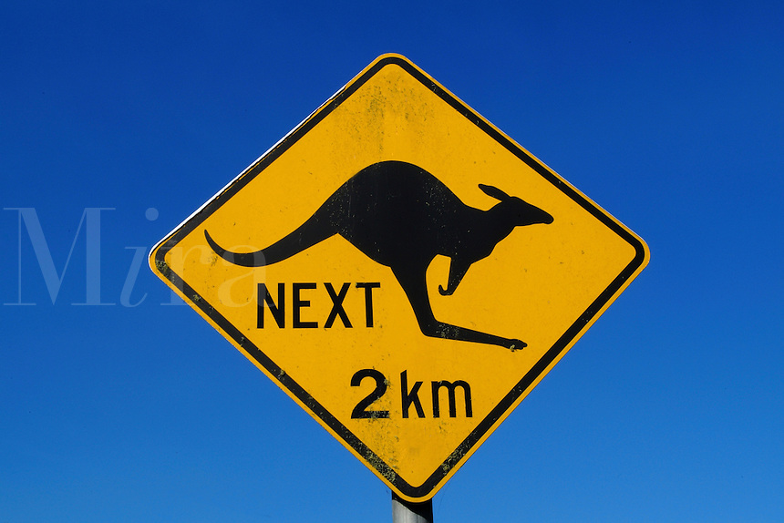 Fun kangeroo signage in country of Australia