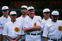 SAN FRANCISCO, CA - Manager Roger Craig, Bill Fahey, Greg Litton, Scott Garrelts, Kelly Downs and others of the San Francisco Giants pose for a team picture before a turn back the clock game against the Chicago Cubs at Candlestick Park in San Francisco, California on June 23, 1991. (Photo by Brad Mangin)