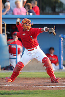Batavia Muckdogs catcher Roberto Espinoza (41) during a game vs. the Aberdeen Ironbirds at Dwyer Stadium in Batavia, New York;  August 10, 2010.   Aberdeen defeated Batavia 4-2.  Photo By Mike Janes/Four Seam Images