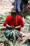 A vendor at the Pisac market ties bundles of green onions for her stall.