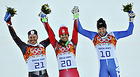 14.02.2014, Rosa Khutor Alpine Center, Krasnaya Polyana, RUSSIA, Sochi 2014 Olympic Games <br /> Olimpiadi Invernali 2014 <br /> Silver Medalist Ivica Kostelic of Croatia, Olympic Champion Sandro Viletta of Switzerland and Bronze Medalist Christof Innerhofer of Italy during the Flower Ceremony of the mens Super Combined <br /> Slalom Super Combinata  <br /> Christof Innerhofer Italia medaglia di Bronzo <br /> Foto Insidefoto/EXPA/ Johann Groder
