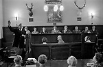 Verderers Court, New Forest, Lyndhurst, Hampshire. 1977. Verderers were originally a court within the Forest, authorised by the Crown and elected by the County. They sat to hear cases of offences within the Sovereign's Forest. They could deal with minor offences directly (by fines) but more serious cases were referred to higher courts - ultimately the Forest Eyre.