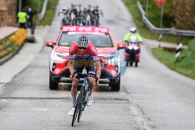 Dutch Champion Mathieu Van Der Poel (NED) Alpecin Fenix attacks during Stage 5 of Tirreno-Adriatico Eolo 2021, running 205km from Castellalto to Castelfidardo, Italy. 14th March 2021. <br /> Photo: LaPresse/Marco Alpozzi | Cyclefile<br /> <br /> All photos usage must carry mandatory copyright credit (© Cyclefile | LaPresse/Marco Alpozzi)