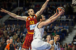 Real Madrid´s Sergio Rodriguez and Galatasaray´s Guler during 2014-15 Euroleague Basketball match between Real Madrid and Galatasaray at Palacio de los Deportes stadium in Madrid, Spain. January 08, 2015. (ALTERPHOTOS/Luis Fernandez)
