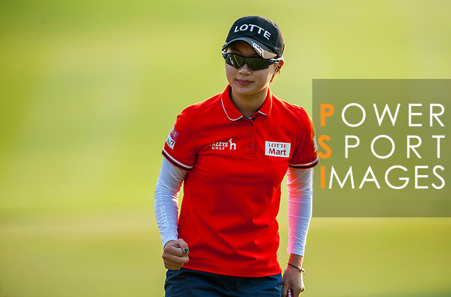 Hyo-Joo Kim of Korea looks on during the Hyundai China Ladies Open 2014 at World Cup Course in Mission Hills Shenzhen on December 14 2014, in Shenzhen, China. Photo by Xaume Olleros / Power Sport Images