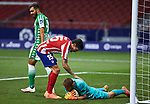 Jan Oblak (Atletico de Madrid) controls the ball during  La Liga match round 36 between Atletico de Madrid and Real Betis Balompie at Wanda Metropolitano Stadium in Madrid, Spain, as the season resumed following a three-month absence due to the novel coronavirus COVID-19 pandemic. Jul 11, 2020. (ALTERPHOTOS/Manu R.B.)
