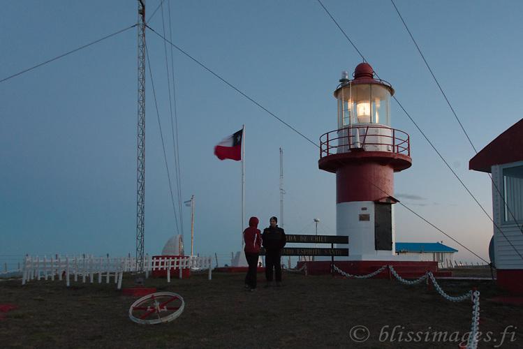 My companion greets the lighthouse keeper at Cabo Espiritu Santo light -Tierra del Fuego, Chile