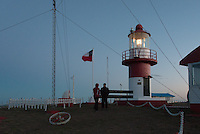 My companion greets the lighthouse keeper at Cabo Espiritu Santo light -Tierra del Fuego, Chile