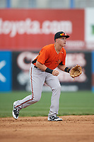 Frederick Keys shortstop Ryan Mountcastle (6) during the first game of a doubleheader against the Wilmington Blue Rocks on May 14, 2017 at Daniel S. Frawley Stadium in Wilmington, Delaware.  Wilmington defeated Frederick 10-2.  (Mike Janes/Four Seam Images)