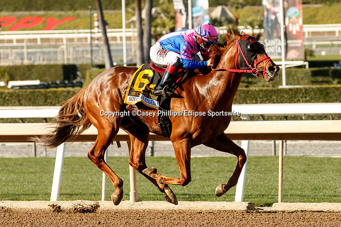 ARCADIA, CA  MARCH 6: #6 Brickyard Ride, ridden by Alexis Centeno, in the stretch of the San Carlos Stakes (Grade ll) on March 6, 2021 at Santa Anita Park in Arcadia, CA.  (Photo by Casey Phillips/EclipseSportswire/CSM)