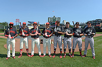 Players participating in the home run derby including Daz Cameron, Luke Dykstra, Grant Holmes, Chase Vallot, Jacob Gatewood, Michael Gettys, Alex Jackson, and Ryan Johnson (l-r) before the Under Armour All-American Game on August 24, 2013 at Wrigley Field in Chicago, Illinois.  (Mike Janes/Four Seam Images)