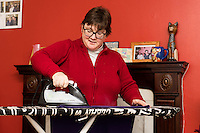 FAO: Society <br /> Pictured: Resident Sharon Wieland<br /> Re: Care worker Alys Phillips, 23, who looks after people with learning disabilities in Brecon, mid Wales, UK. Wednesday 01 February 2017