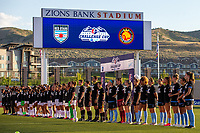 HERRIMAN, UT - JULY 12: Utah Royals FC and Chicago Red Stars players line up for the National Anthem during a game between Utah Royals FC and Chicago Red Stars at Zions Bank Stadium on July 12, 2020 in Herriman, Utah.