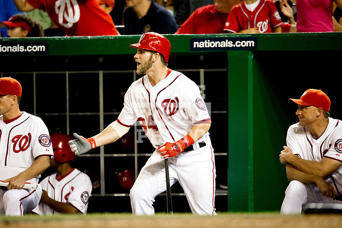 Washington Nationals outfielder Bryce Harper (34) reacts to a play on the field during a game against the Miami Marlins at Nationals Park in Washington, DC on September 7, 2012.
