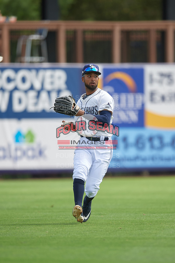 Charlotte Stone Crabs left fielder Garrett Whitley (16) during a Florida State League game against the Palm Beach Cardinals on April 14, 2019 at Charlotte Sports Park in Port Charlotte, Florida.  Palm Beach defeated Charlotte 5-3.  (Mike Janes/Four Seam Images)