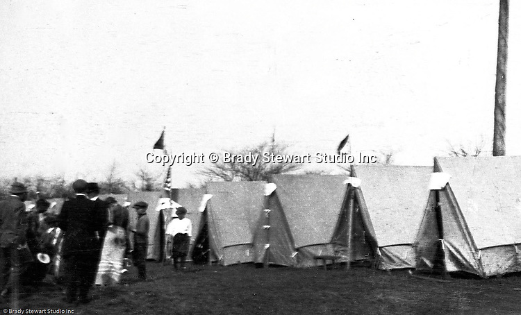 Gettysburg PA: View of the McKeesport Boy's Brigade tents and camp at Gettysburg. Brady Stewart was in Gettysburg with the Pittsburgh-area Boy's Brigade. They were in Gettysburg for 40th anniversary of the battle of Gettysburg.  The Boy's Brigade was a church-based youth organization started in the late 1800s in Scotland.