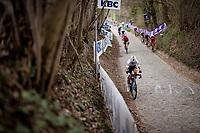 World Champion Julian Alaphilippe (FRA/Deceuninck - QuickStep) detaching himself from the peloton up the infamous Koppenberg<br /> <br /> 105th Ronde van Vlaanderen 2021 (MEN1.UWT)<br /> <br /> 1 day race from Antwerp to Oudenaarde (BEL/264km) <br /> <br /> ©kramon