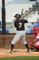 Trae Arbet (7) of the Bristol Pirates at bat against the Johnson City Cardinals at Howard Johnson Field at Cardinal Park on July 6, 2015 in Johnson City, Tennessee.  The Pirates defeated the Cardinals 2-0 in game one of a double-header. (Brian Westerholt/Four Seam Images)