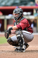 Arizona Diamondbacks catcher Stryker Trahan during an Instructional League game against the Oakland Athletics on October 10, 2014 at Chase Field in Phoenix, Arizona.  (Mike Janes/Four Seam Images)