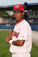 August 4th, 2007:  Domnit Bolivar of the Batavia Muckdogs, Short-Season Class-A affiliate of the St. Louis Cardinals at Dwyer Stadium in Batavia, NY.  Photo by:  Mike Janes/Four Seam Images